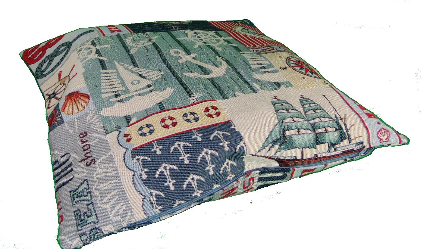 dekokissen 40x40 cm maritimes gobelin muster 1. Black Bedroom Furniture Sets. Home Design Ideas
