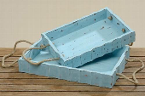 Deko-Tablett 2 teilig blau / Serviertablett / Dekotablett / Küchentablett / Teetablett / Gartentabl